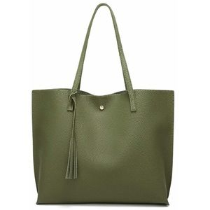 Handbags - Faux Leather Green Tote Bag